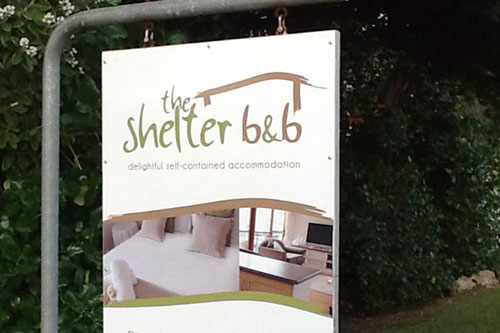 The Shelter b&b welcome sign